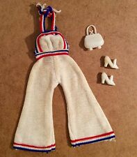 BARBIE Vintage JUMPSUIT 70's Handbag Shoes Fashion Doll White Blue Red US Girls