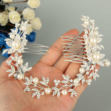 "11"" Boho Bridal Flower Pearl Hair Comb Accessorie Clear Swarovski Crystal -E287"