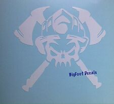 Firefighter Decal Helmet Axes Skull American Hero EMT Paramedic  Window Sticker