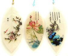 New 3 pcs Real Leaves Bookmarks Folk Art Flowers Traditional Chinese Painting n1