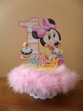 Baby Minnie Mouse Cake Topper 1st First One Birthday Party Table Decoration