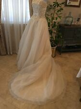 DAVIDS BRIDAL SIGNATURE WEDDING GOWN Oleg Cassini 9158 Lace Tuille Beaded $950