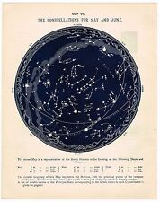 ANTIQUE PRINT VINTAGE 1883 ASTRONOMY CONSTELLATIONS STAR CHART MAY JUNE