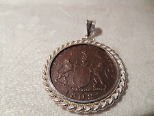NEW Genuine 1808 Portugal Coin Pendant East India Company Sterling Silver Bezel