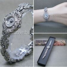 Womens Vintage Marcasite Crystal Silver Tone Brass Bracelet Classic Watch LM08