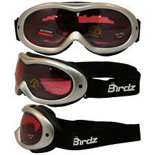 BIRDZ TALON SKI GOGGLES METALLIC SILVER FRAME WITH ROSE MIRROR LENS