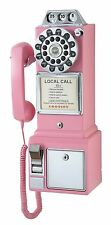 NEW Crosley 1950's Payphone with Push Button Technology Pink Telephone Pay Phone
