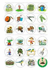 24 Edible cake toppers decorations mixed gardener gardening ND1