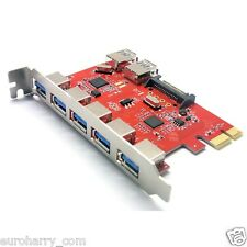 7 Port USB 3.0 PCI Express PCI-E Computer Card PC Karte Controller Hub Adapter