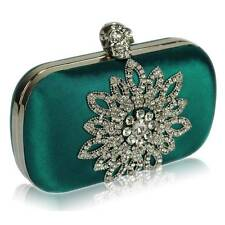 teal satin CLUTCH hand BAG diamante crystal 134 WEDDING EVENING chain hard case