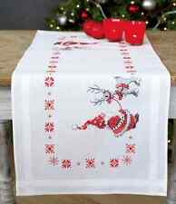 Christmas elves & reindeer Table Runner kit  printed embroidery cross stitch kit