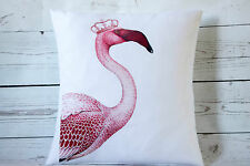 """Queen Flamingo - 16"""" cushion cover French shabby vintage chic - UK handmade"""