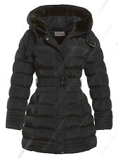 NEW Size 8 10 12 14 16 Womens PADDED COAT Ladies JACKET Fur Quilted Black Parka