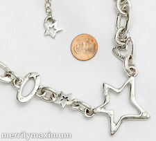 Chico's Signed Necklace Silver Tone Chunky Chain Star Heart Charms Crystals
