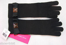 NWT Kate Spade Black Tech Friendly Stud Black Bow Knit Long Gloves PSRU1308