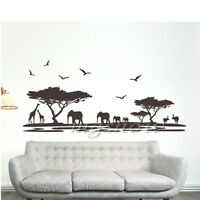 Removable African Animal Safari Wall Sticker Elephant Giraffe DIY Tree Art Mural
