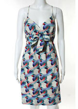 Nicole Miller Studio Multi-Colored Cotton Printed Built In Belt Dress Size 6 New