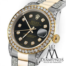 Ladies 26mm Rolex Oyster Perpetual Datejust Custom Diamond Black Chocolate Dial