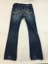 Big Star Sweet Ultra Low Rise Bootcut Jeans Size 24 R Thick Stitch