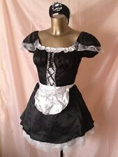 Black maids costume robe chapeau tablier 2 x underskirts fancy dress polyester taille m