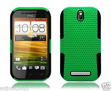 HTC One SV Boost Cricket Mesh Hybrid Case Skin Cover Green Black