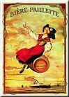 French Advertising Metal Sign Biere Paillette Beer Alsace Girl on Keg