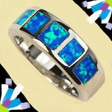 Size 7 Ladies Ring + Gift Box! Blue Haunted Witch Opal Gold Filled Free USA S&H