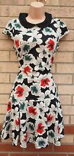 PRIMARK GREY GREEN RED PETER PAN COLLAR A LINE FISHTAIL SKATER FLORAL DRESS 10 S