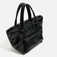 Zara Black Faux Leather Quilted Padded Tote Shopper City Bag Holdall BNWT