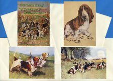 BASSET HOUND PACK OF 4 VINTAGE STYLE DOG PRINT GREETINGS NOTE CARDS