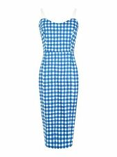 Vintage 50's style Blue Gingham Print Pencil Dress Size 14 BNWT