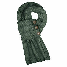 Aran Traditions Cable Wrap Dark Green Blue Winter Warm Scarf Fashion