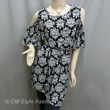 Bare Shoulder Flutter Sleeve Tunic Top Black White M