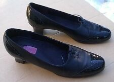 Munro American Brouge Black Patent Toe Heel & Smooth Leather Pumps 11 Narrow VGC