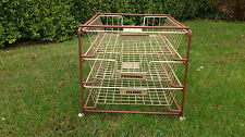 vintage retro three tray wire filing rack shelves drawers in out desk top
