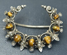 Antique SOLID SILVER, Tigers Eye & Seed Pearl Unusual CRESCENT MOON Brooch