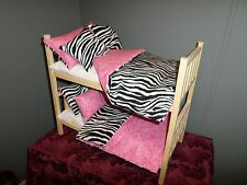 "Stacked Zebra Doll Bunk Bed Fits 18"" Doll"