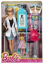 BARBIE EYE DOCTOR & TODDLER PLAYSET CAREER DOLL CMF42 *NU*