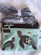 NEW CHALA SEA TURTLE MINI CROSSBODY CELL PHONE PURSE ADJUSTABLE STRAP BLUE GREEN