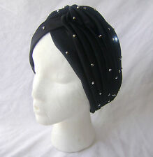 NEW HEAD WRAP INDIAN STYLE STUDDED TURBAN HAT BLACK WITH SILVER STUDS