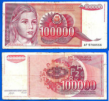 Yugoslavia 100000 Dinara 1989 Prefix AF Europe Yougoslavie Free Shipping World