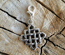 Wisdom Buddha Diamond Endless Knot Clip On Charm Pendant Tibet Silver 25mm