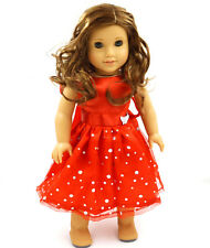 hot Red  Doll Dress Handmade Doll Clothes Skirt for18 inch American Girl b1