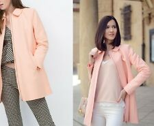sale ZARA Light_Pink Salmon Zip_Coat With Peter Pan Collar_Size M UK 10