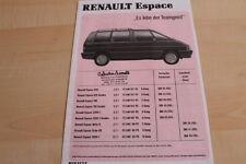 142339) Renault Espace J11 - Preise & Extras - Prospekt 11/1988