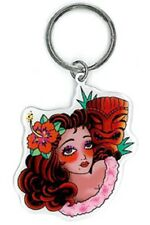 Sunny Buick Fab Retro TIKI Tattoo Pinup GIRL Great Metal Keychain 3.5 x 1.8 NEW