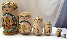 6 pc Wood Burned Colorful Gold Maiden Russian Matryoshka Nesting Dolls