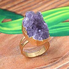 1x Natural Amethyst Quartz Druzy Clusters Crystals Reiki Adjustable Finger Ring