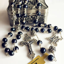 10MM Black Pearl & Bali Sterling Silver Beads Catholic Rosary Cross Necklace box