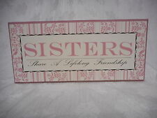 Sister Friendship Shabby Chic Wall Plaque Pink & Black Sign